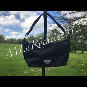 Prada nylon handbag w/ cards and dust bag